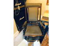Antique American Rocking Chair & Armchair Upholstered In Matching Fabric