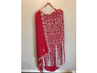 Asian party sari lengha suit with heavy embroidery