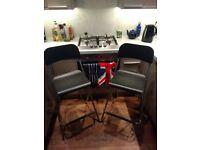 2x Folding High Bar Stools - Black - IKEA FRANKLIN 74cm