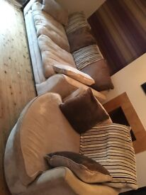 Beige/Brown 3 Seater Sofa and Swivel Chair