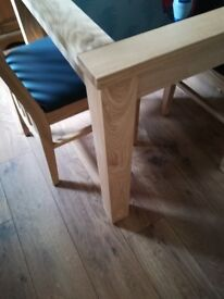 This is solid wood table with very thick black glass centres, new in box.
