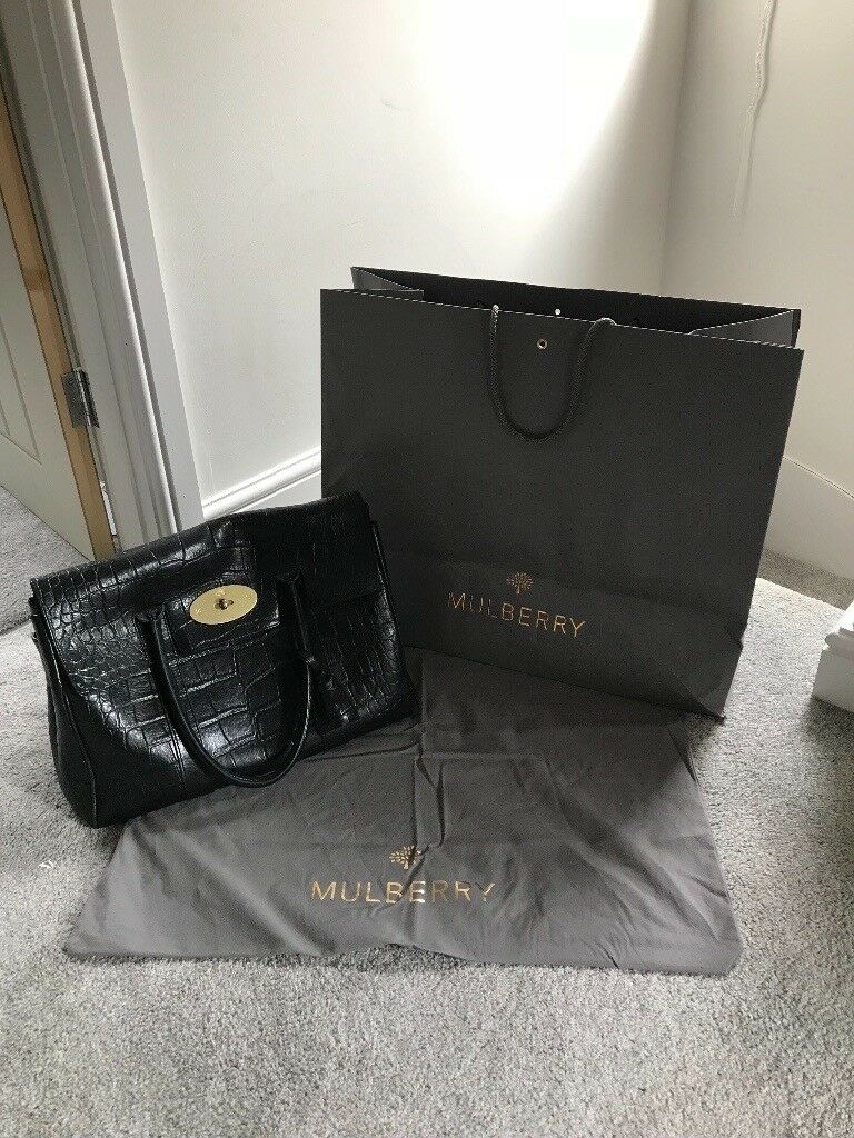 Genuine Mulberry Bayswater Bag in Black deep croc print - Excellent  Condition a58e76075ddbb