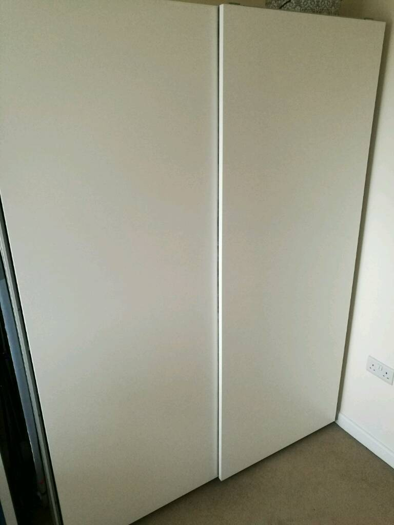 ikea pax double sliding door wardrobes hasvik white 201x66x150 cm