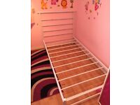 Single bed frame white solid metal