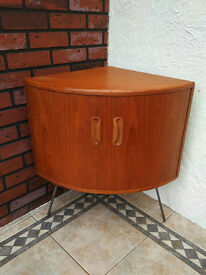 Vintage Retro G Plan E Gomme Teak Corner Unit Drinks Cabinet Hairpin Legs 1