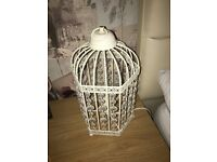 Beautiful cream vintage style birdcage lamps and ornaments