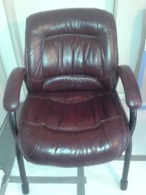 ArmChair. Small and compact.Leather burgundy/brown. Collect london n3