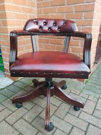 Chesterfield genuine oxblood leather captains desk chair. EXCELLENT CONDITION!BARGAIN!