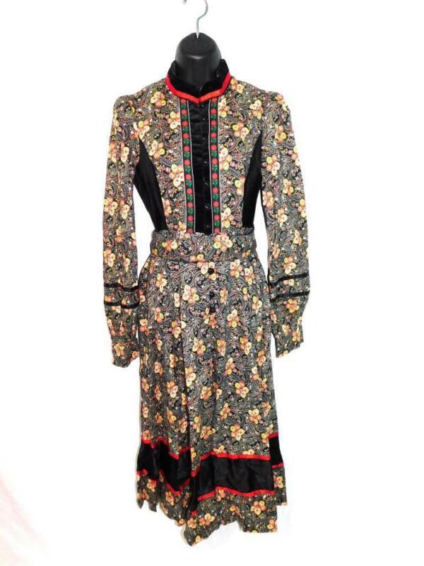 Vintage Gunne Sax Dress S 11 Black Orange Yellow Floral Paisley Velvet Trim Boho