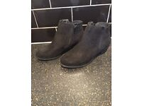 Black suede ankle boots size 8