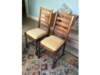 Pair Vintage Oak Ladder Back Dining Room Chairs Good Condition
