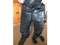 Leather motorbike trousers