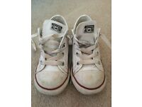 Kids White Converse Shoes size 10