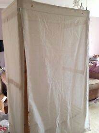 CANVAS WARDROBE, 'AS NEW' CONDITION, EASILY ASSEMBLED