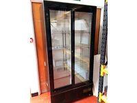 Polar Upright Back Bar Cooler with Sliding Doors Black used