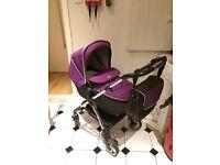 Purple (Damson) Silver Cross Wayfarer Travel System with Red Car Seat
