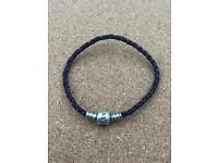 Pandora 19cm purple leather bracelet