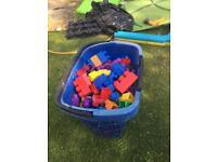 Big basket of Lego blocks