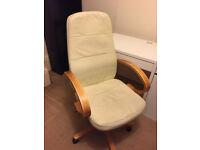 Leather Beige Swivel Desk Chair