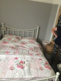 White metal frame double bed with brand new mattress