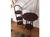 Matching Antique Mahogany 3 tier Tea/Cake Stand & 2 tier Table. VERY GOOD CONDITION Vintage tables