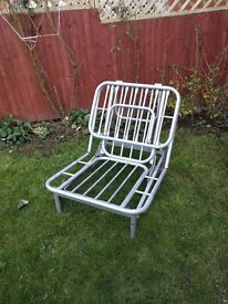 Single Metal Bed Frame, Folds into chair