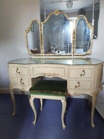 French Style Dresser, 5 Drawer Tallboy, and Headboard