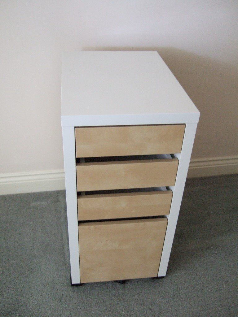 official photos 48a17 8861c IKEA Micke Office filing cabinet,4 drawer storage unit, white beech finish,  on castors   in Highcliffe, Dorset   Gumtree