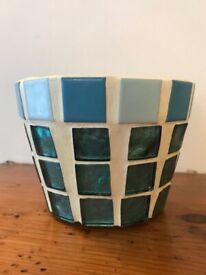 Hand decorated mosaic plant pot 12cm diameter