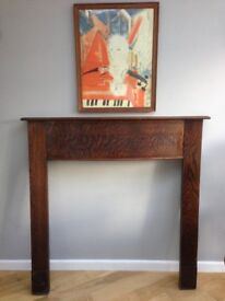 Wooden 1930s fireplace surround mantle