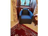 2 blue tub chairs