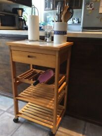 Pine kitchen trolley/stand on wheels with drawer, wine rack, two shelves and white tiled top