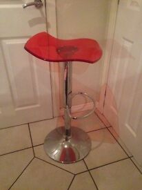 BAR STOOLS 4 red ex cond height adjustable