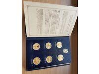 1973 -1975 Winston Churchill 24 Carat Gold Plated Hallmarked .925 Sterling Silver 24 Medal Set