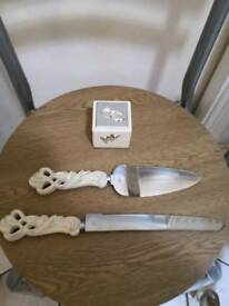 Wedding vintage rustic cake knife set and brand new double ring box
