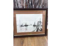 Framed pencil drawing off transporter bridge 1912
