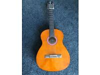 Acoustic guitar and stand, hardly played, ace condition