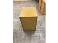 Two Draw wood filing cabinet - takes suspension files - industrial quality