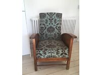 Antique Oak reclining chair - recently upholstered