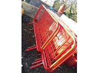 Red powder coated crowd pedestrian barriers