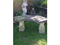Solid half moon bench with squirrel w