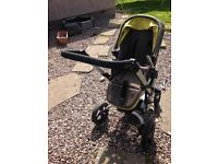 Jane Rider pushchair in green including cosy matching footmuff (great condition)