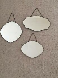 Set of 3 Laura Ashley copper effect wall mirrors