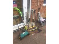 Garden tools, lawn mower, saws, drain rods