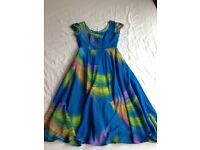 Handmade summery colourful long dress small 38