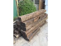 Reclaimed solid oak weathered sleepers