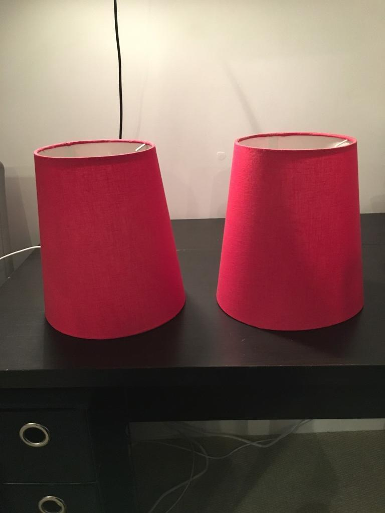 2 red lampshades (for ceiling pendant)