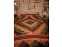 Vintage King/double quilted patchwork bedspread