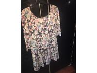 Flowery playsuit - size 12-14?