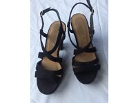 Black suede strappy sandals - size UK5 (38) - New. Look